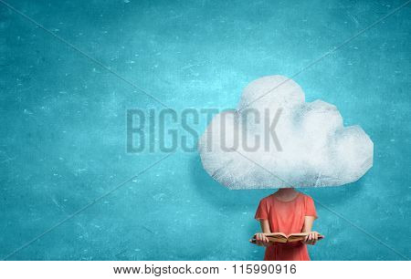 Cloud headed woman read book