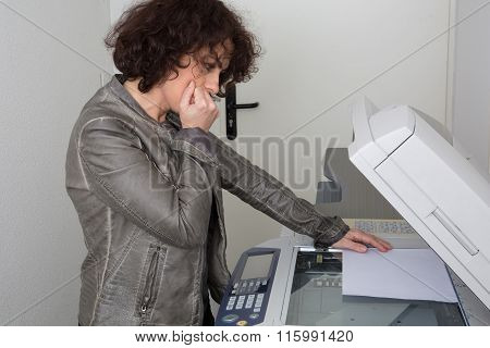 Cheerful Happy Woman Man Using A Copy Machine Isolated