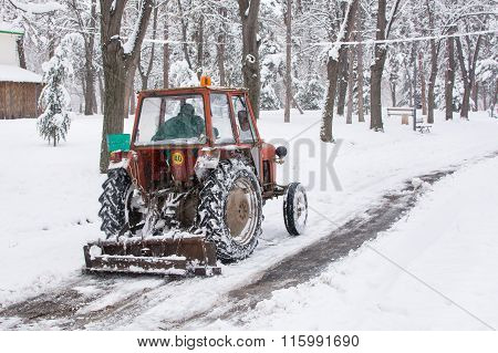 Dredge Cleaning The Roads From The Snow