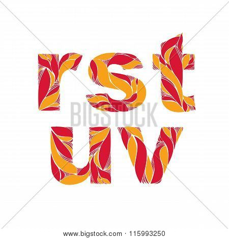 Beautiful Typescript With Natural Autumn Pattern Created From Fiery Orange Leaves. Flowery Alphabet,