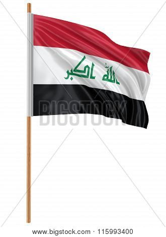 3D Iraqi flag with fabric surface texture. White background.