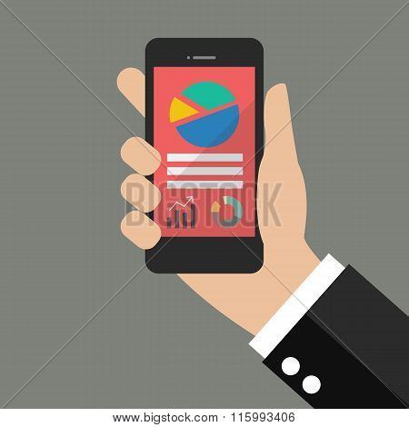 Hand Holding Smart Phone With Analyzing Graph