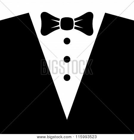 Black Tuxedo with Bow Tie. Vector