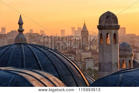 View Of Beyoglu's Region And Galata Tower At Sunrise, Istanbul