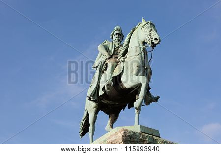 Equestrian Statue Of The Member Of Hohenzollern Dynasty With Beautiful Blue Sky Background In Cologn