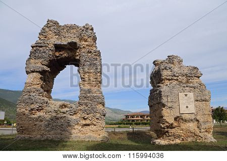 CORFINIO ITALY - SEPTEMBER 06 2015: Roman graves near the Basilica of S.Pelino. The ancient Corfinium conserves large tracts of the ancient city: the theater the amphitheater and the baths. L'Aquila in the region of Abruzzo - Italy