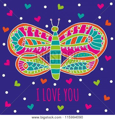 I love you greeting card. Cute butterfly with bright colorful ornaments and hearts on a dark bl