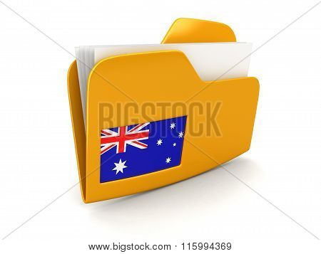 folder and lists with Australian Flag. Image with clipping path