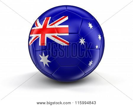Soccer football with Australian flag. Image with clipping path