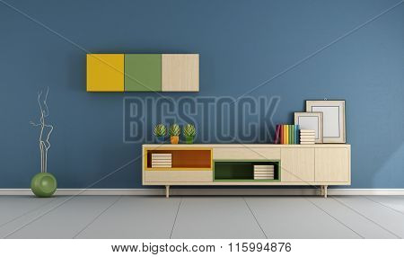 Blue Living Room With Sideboard