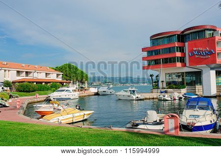 Piran Slovenia - September 12 2015: Laguna Bernandin Hotel view in summer