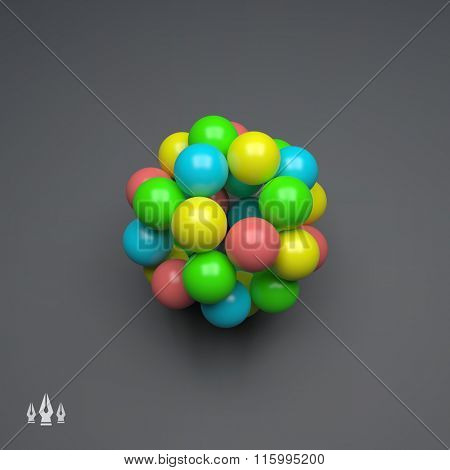 Sphere. 3d Vector Template. Abstract Illustration. 3d Abstract Spheres Composition. Futuristic Technology Style. Idea Concept. Vector illustration for Science, Technology, Web Design and Network.