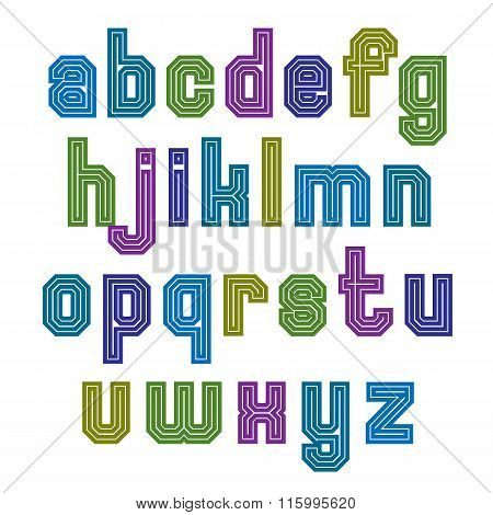 Striped Font, Geometric Bright Typeface With Parallel Lines. Colorful Regular Lowercase Letters.