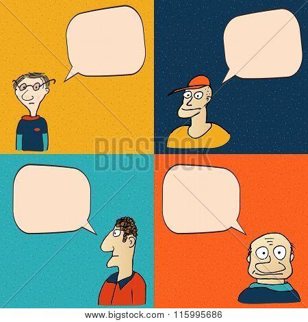 Comic faces with speech bubbles.