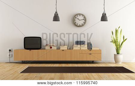 Vintage Living Room With Retro  Tv - Rendering