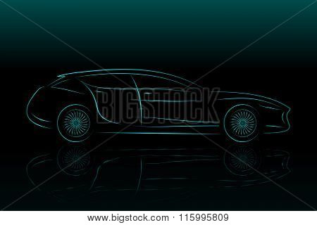 Concept Vehicle Silhouette. Vector Car Outlines