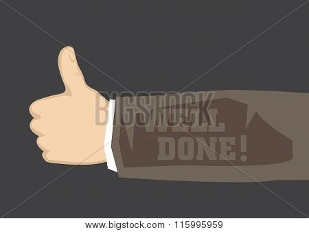 Well Done Thumbs Up Vector Illustration
