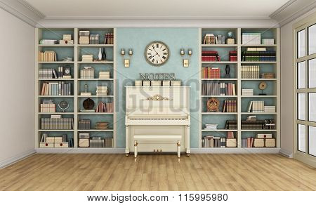 Classic Livingroom With Upright Piano And Bookcase