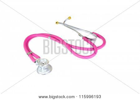 colorful dark pink Stethoscope laying on a white surface