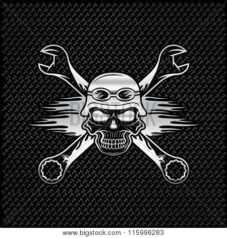 Silver Skull In Helmet And Wrenches With Flames