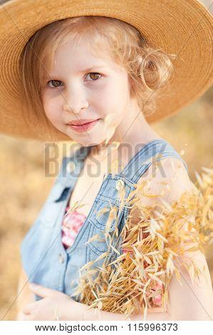 Cute kid girl outdoors