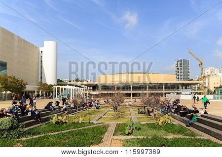 Tel-aviv, Israel - January 22, 2016: Habima Square