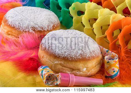 Krapfen or Berliner Doughnut Donuts Carnival Festive Decoration
