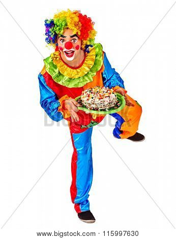 Portrait of happy birthday clown holding bunch of colour balloons.  Isolated.