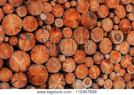 wooden logs storage - abstract natural background