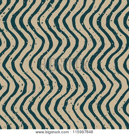 Vector Seamless Green Grey Color Hand Drawn Wavy Distorted Lines Retro Pattern