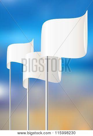 Blank white flag. Blue sky. Vector illustration