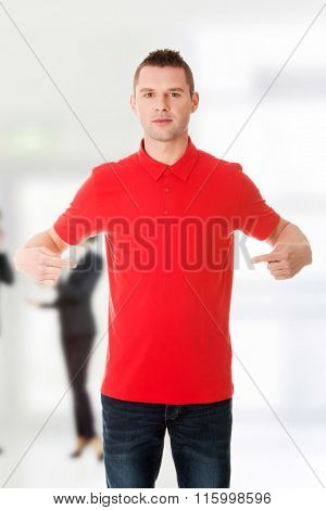 Excited man pointing