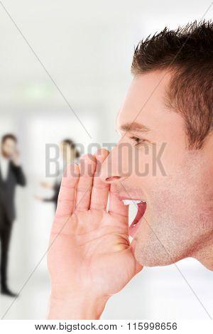 Smart man telling some secrets