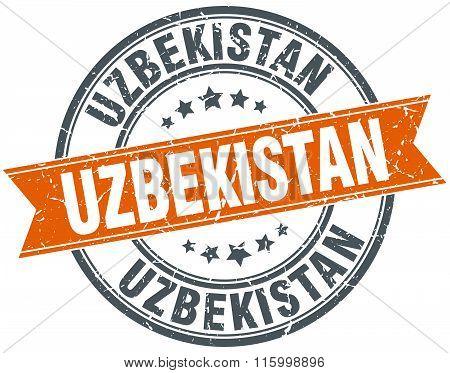 Uzbekistan orange round grunge vintage ribbon stamp