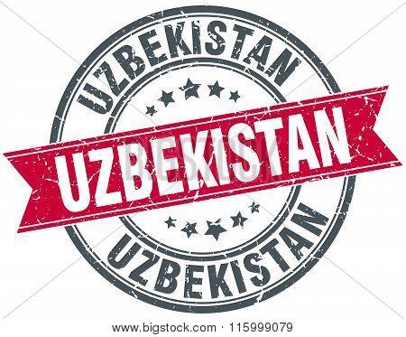 Uzbekistan red round grunge vintage ribbon stamp