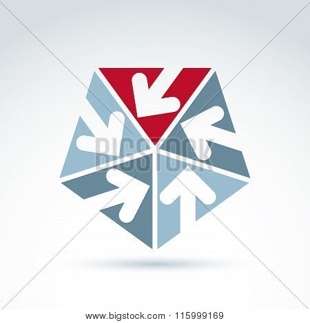 Vector Abstract Emblem With Five Multidirectional Arrows Placed In Isosceles Triangles