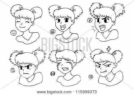 Cartoon manga girl. Expressions.