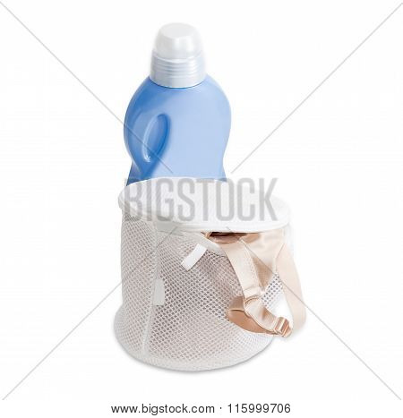 Laundry Bag Bras Against The Background Of A Detergent