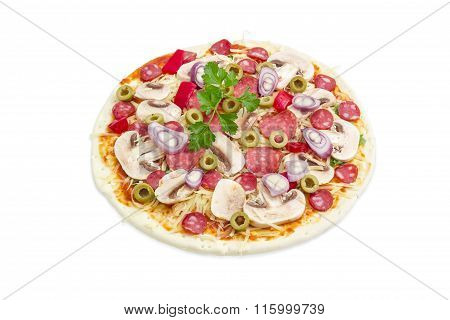 Uncooked Pizza With Sausage, Mushrooms And Olives