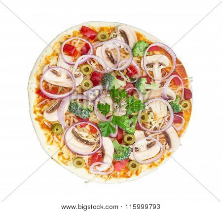 Uncooked Vegetarian Pizza With Vegetables, Mushrooms And Olives