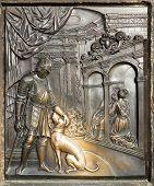 Постер, плакат: Bronze Bas relief Sculpture Depicting The Confession Of Queen Johanna