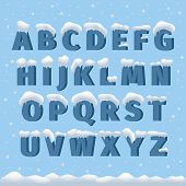 Winter vector alphabet with snow poster