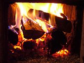 stock photo of hade  - good fire in the village oven  - JPG