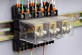 stock photo of contactor  - Electrical relays in an industrial automation process - JPG
