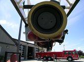 image of burlington  - Spray nozzle attached to ladder truck at Burlington Fire Dept - JPG