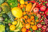 Colored Fruits And Vegetables Background poster