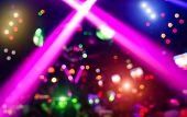 Abstract Background With Defocused Bokeh Of Laser Show In Modern Disco Party Night Club poster