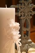 foto of unity candle  - a unity candle and cross on the alter at a wedding - JPG