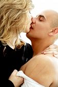 stock photo of soliciting  - picture of couple foreplay over white background - JPG