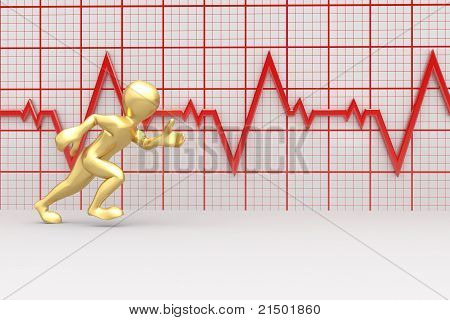 Running Men And Chart Heartbeat. 3D